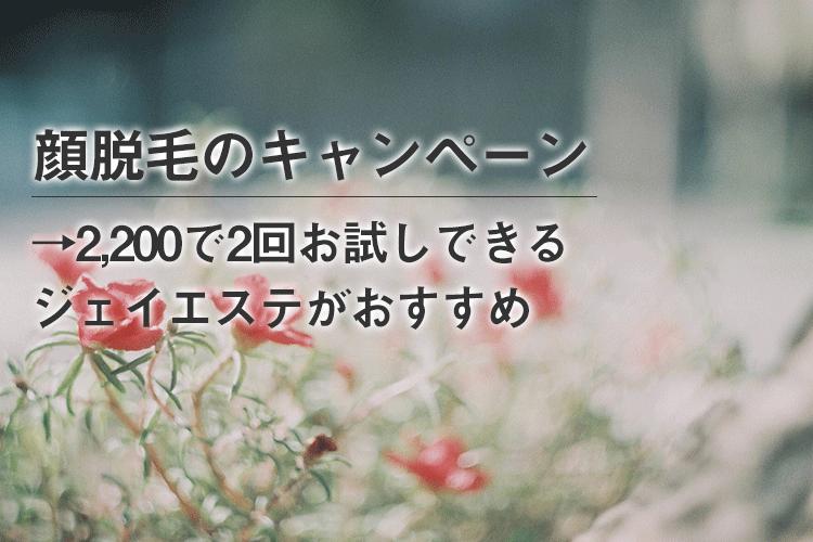 【2,200円~】顔脱毛の体験キャンペーン